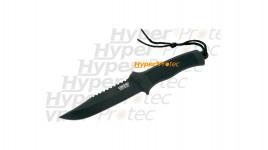Couteau Tactical Virginia noir manche en gomme - 29 cm