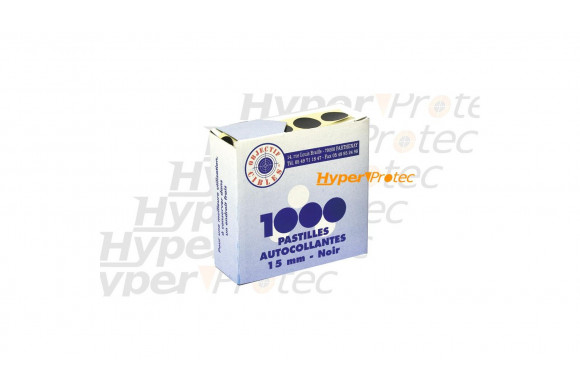 1000 pastilles noires autocollantes Diamètre 15 mm pour cible