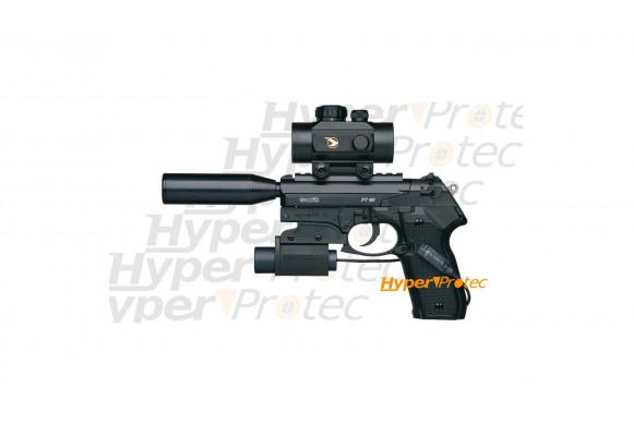 Gamo PT 80 Tactical Pistolet à plombs 4.5 mm avec silencieux