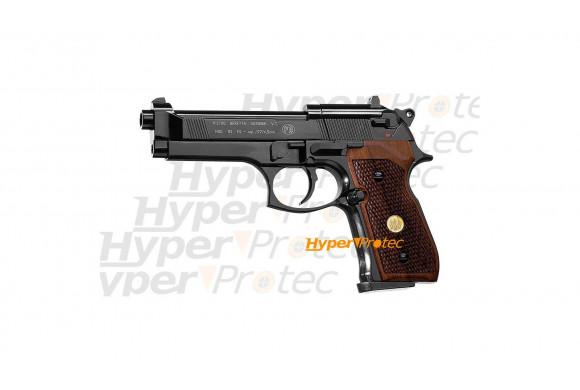 Beretta 92 noir - crosse bois - plombs 4.5 mm - co2