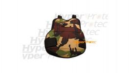 Plastron protection camo avec porte pot pour paintball