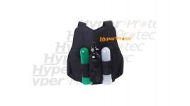 Plastron protection noir avec porte pot pour paintball