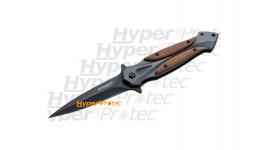 Couteau lame lisse manche en bois Linerlock