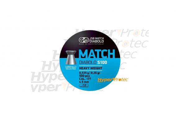 Plombs 4.5 mm JSB Match Diabolo S100 Blue - lourds cal 4.49