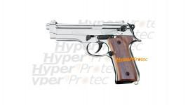 Pistolet Kimar 92 alarme chromé crosse bois en 9 mm (Beretta)