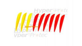 Plumes en plastique paraboliques jaunes et rouges (x9)