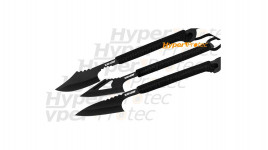 3 couteaux à lancer noirs Black Legion Harpoon avec étui