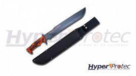 Machette Zombie Killer lame lisse 52 cm avec étui
