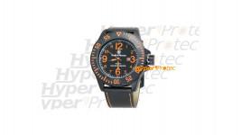 Montre Smith Wesson bracelet cuir noir cadran orange