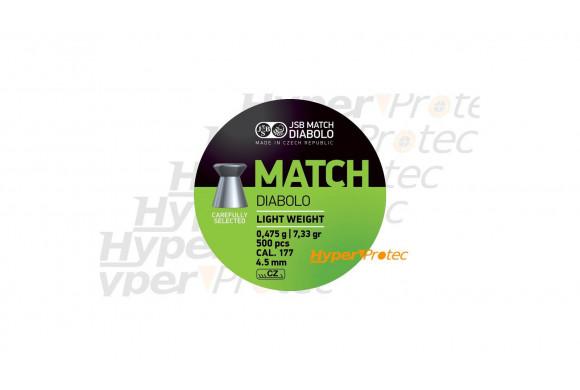 Plombs 4.5 mm JSB Match Diabolo Green - poids léger cal 4.50