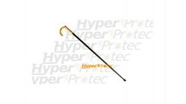 Canne épée crochet dorée avec gravure - fût métal 93 cm