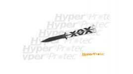 Couteau papillon inox lame noir motif XOX