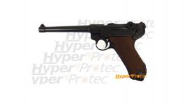 Pistolet Luger P08 canon long version marine plaquettes imitation bois