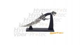 Couteau dragon décoration manche noir avec support