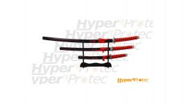 Ensemble de 3 katanas rouge et noir avec dictons japonais