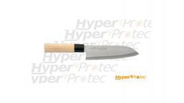Couteau japonais en manche bois naturel Santoku - 17cm